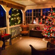 Cape Cod Country Porch Holiday Decor Christmas Tree Front Porch