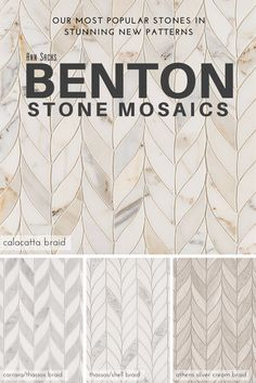 Backsplash in master ?New Benton Stone Mosaics in Braid pattern. Tiles come in Calacatta Borghini, Carrara/White Thassos, White Thassos/Shell, and Athens Silver Cream. Room Tiles, Wall Tiles, Stone Mosaic, Bath Remodel, Tile Design, Master Bath, Home Remodeling, House Design, Decoration