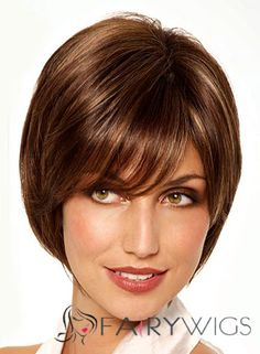 Soft Short Straight Brown 10 Inch Human Hair Wigs