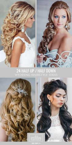 42 Half Up Half Down Wedding Hairstyles Ideas 24 Stunning Half Up Half Down Wedding Hairstyles ❤ These elegant curly half up/half down hairstyles look amazing with hair accessories or on their own. Wedding Hairstyles Half Up Half Down, Wedding Hair Down, Wedding Hairstyles For Long Hair, Wedding Hair And Makeup, Bride Hairstyles, Down Hairstyles, Pretty Hairstyles, Bridal Hair, Hair Makeup