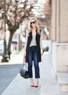 { Ruby Slippers: Long vest, Crop flare jeans & Red pumps }
