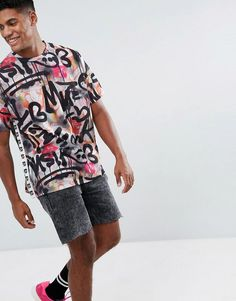 ASOS x MTV Oversized T-Shirt With All Over Graffiti Print - Multi
