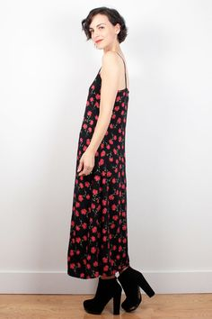 Vintage 90s XOXO Maxi Rose Fitted 1990s Rayon Dress