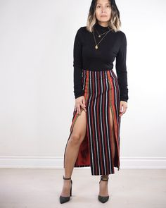 Made from handloomed (acrylic) traditional Ifugao stripe textile, this High Waist Skirt is inspired by the bahag of the Cordillera region. Workwear Fashion, Office Fashion Women, Fashion Tips For Women, Everyday Fashion, Modern Filipiniana Dress, New Fashion Trends, Fashion Blogs, Fashion Fashion, Modern Fashion