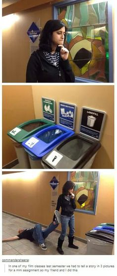 awesomeness • tumblr • funny • lol • haha • dead body • recycling • three picture story • text posts