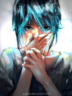 """""""Can't Quite Express"""" - Poem by Zachary Phillips - Click to read ... Image: girl holding mouth crying"""