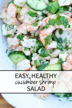 salad recipes An easy, healthy, make-ahead cucumber shrimp salad recipe, perfect for weeknight dinner and summer entertaining! Delicious, easy summer dinner or spring dinner recipe. Shrimp Salad Recipes, Seafood Recipes, Dinner Recipes, Cooking Recipes, Seafood Salad, Cooking Games, Dinner Dishes, Healthy Snacks, Healthy Eating