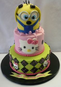 combinding monster high and hello kitty cakes | birthdays-for-kids_monster-high-cake-hello-kitty-cake-minon-cake