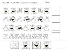 "Use these 3 FREE monster worksheets for patterning practice. There is also a ""Create Your Own Monster"" page included for fun! Great for K-1 students!"