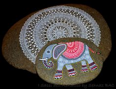 Another picture of my new elephant stone with my big mandala #paintedstones #isassidelladriatico