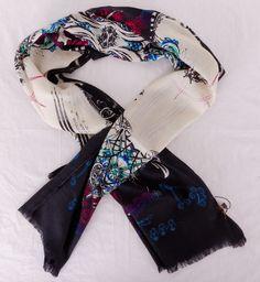 Шарф Roberto Cavalli длинный теплый шерсть + шёлк. Размер 190x65cm #19957