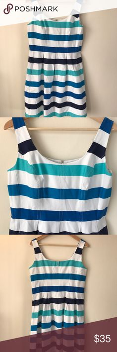 Nine West Retro Stripe Dress Nine West // retro stripes // skater dress // sleeveless // side pockets // back zipper closure // excellent condition // ships within 1-2 business days Nine West Dresses