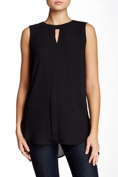 Solid Sleeveless Placket Front Tunic Blouse by Vince Camuto on @nordstrom_rack