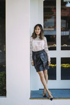 aimee_song_of_style_self_portrait_lace_crochet_blouse_vince_leather_skirt_chanel_slingback