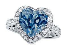 Star K Large 10mm Heart Shape Simulated Blue Topaz Wedding Ring