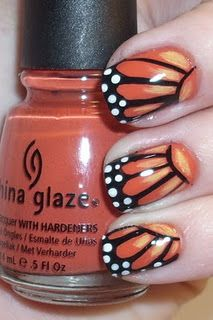Unbelievably gorgeous and perfect for spring/summer!!!    Monarch Nails! This is pretty amazing