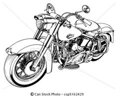 Stock Illustration - Classic 50s Motorcycle - stock illustration, royalty free illustrations, stock clip art icon, stock clipart icons, logo, line art, pictures, graphic, graphics, drawing, drawings, artwork