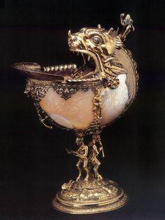 UNKNOWN GOLDSMITH, Netherlandish  Nautilus cup  1592  Silver gilt, nautilus shell, glass and enamel, height 27 cm, diameter 10 cm  Gemeente Musea, Delft