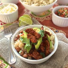 A healthy Tex-Mex dinner that comes together quickly and makes everyone happy because they can custom make their meal: Naked Chicken Burrito Bowls.