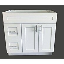 White Shaker Single Sink Bathroom Vanity Base Cabinet 36 Wide X