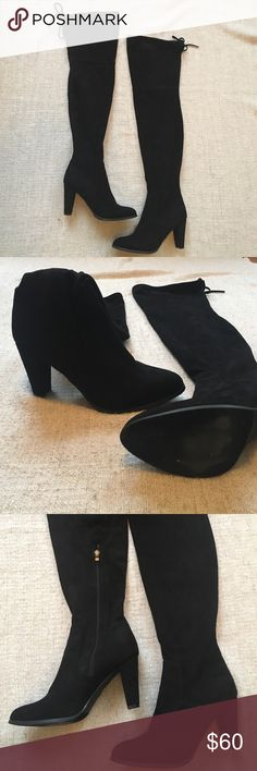 Thigh high black suede boots Size 10 Catherine Malandrino thigh high black boots. Zipper on inside of leg. Tie on top. Fits 9-10. Worn once. Catherine Malandrino Shoes Over the Knee Boots