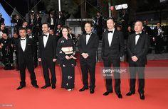 Japanese actress Tsutsui Mariko, director Koji Fukada, actors Asano Tadanobu, Kanji Furutachi and a guest attend the screening of the film 'Fuchi ni Tatsu (Harmonium)' ahead of the 'The Handmaiden (Mademoiselle)' premiere during the 69th annual Cannes Film Festival at the Palais des Festivals on May 14, 2016 in Cannes, France.