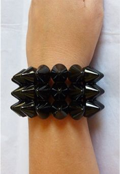Black Spike Triple Studded Bracelet