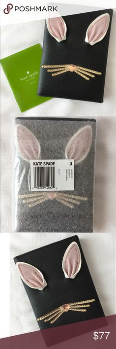 New Kate Spade Rabbit Passport Holder in Black 🐰 A fun, unique, adorable AND the most spacious Passport Holder I have seen from Kate Spade yet.   Crosshatched leather with smooth leather trim, this passport holder also has 7 credit card slots!! The hardware is 14 karat gold plated.  Take your fun side on all your travels ☺️ 🐰 ✈️ 🚢.... kate spade Accessories
