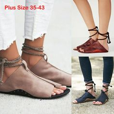 Women Lace Up Open Toe Casual Sandals Flat Gladiator Ankle Strap Pumps Shoes New #Unbranded #Slingbacks #Casual