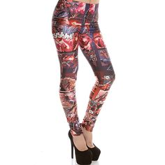 comic superhero print elastic waist skinny leggings ($19) ❤ liked on Polyvore featuring pants, leggings, comic, patterned pants, comic book print leggings, print comic book, white pants and print leggings