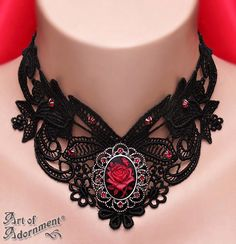 Sanguine Gothic Rose Cameo Lace Choker by ArtOfAdornment.deviantart.com on @deviantART Goth Jewelry, Gothic Jewellery, Steam Punk Jewelry, Diy Jewelry, Jewelry Box, Jewelery, Jewelry Necklaces, Victorian Jewelry, Victorian Gothic