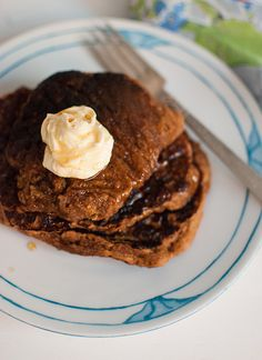 Whole Wheat Gingerbread Pancakes with Orange Cream Cheese for Christmas morning.
