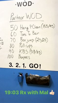 Partner CrossFit workout - one person works while the other person rests. You can't move on to the next exercise until you complete the previous exercise.