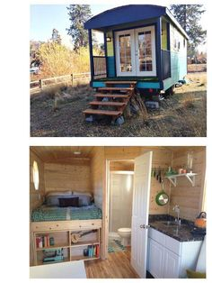 180 square feet on a highway ready double axel 9×20 flatbed trailer. It's extremely easy to live in – just attach a hose for water and extension cord for electricity! Gorgeous pine interior, wood laminate flooring, 6 double pane windows, insulated french doors. Kitchenette with sink and single electric burner. Complete, functioning bathroom with RV hook-ups. Raised queen sized bed, with storage and hot water heater underneath.  Actually for sale $20K in the USA