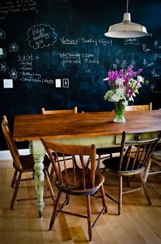 Miss our old, huge chalk board wall - totally putting another in the new house. :-) Perfect for the basement school room. :-)