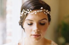 Bridal flower crown, circlet, wedding hair accessory, pearl tiara, ribbon tie / Lily style 1929 An exquisite circlet of petite enameled leaves & tulip capped Freshwater Pearls that ties closed in the back with pure silk ribbon ties. Bridal Veils And Headpieces, Headpiece Wedding, Wedding Veils, Wedding Garters, Flower Headpiece, Wedding Dresses, Bridal Crown, Pearl Bridal, Circlet