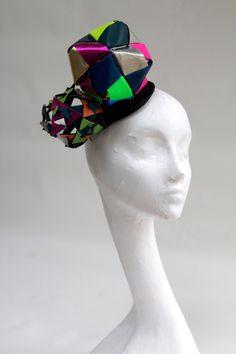 Origami kalidescope headpiece, multicoloured leather lady gaga, cosmic, ascot, the races.