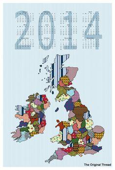 UK & Ireland 2014 Calendar Linen/Cotton FQ Cut and Sew Tea Towel