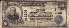 Morgan City, Louisiana - $10 federal blue seal bank note issued by the First Bank of Morgan city in 1903. Morgan City, Louisiana History, First Bank, Vintage Pictures, Seal, United States, Note, Federal, Vintage Photography