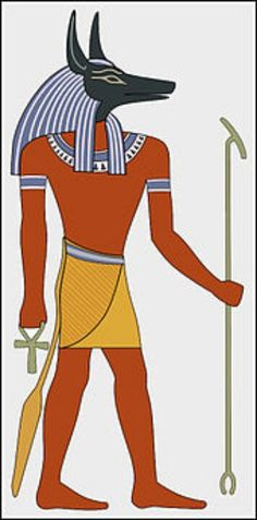 Egypt; Anubis - God of the funeral,invented enbalming and mummification when Osiris was killed by His brother Seth. Anubis is a psychopomp, a deity who guides souls to the Land of the Dead, (ie Greek Hermes) depicted as a dark blue- or black-skinned man with the head of a jackel or dog, both animals being sacred to him, as they haunt cemeteries; embalmer of the dead and one who weighed the truth of the heart against a feather to determine one's worth in the afterlife.