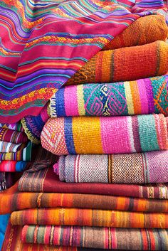 Colorful textiles at the Chinchero market. by dyuhas, via Flickr