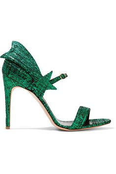 RUPERT SANDERSON Starfire metallic textured-leather sandals$750  Heel measures approximately 100mm/ 4 inches Green and black textured-leather Buckle-fastening strap Made in ItalySmall to size. See Size & Fit notes.
