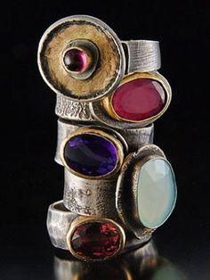 Fanciful and luscious tourmaline's, amethyst and chalcedony rings with 18kt gold and sterling silver