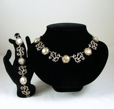 NETTIE ROSENSTEIN Necklace and Bracelet Set Sterling Silver and Coin Pearls on Etsy, $1,800.00
