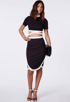 Missguided - Alma Wrap Hem Contrast Midi Skirt Black 11.90 (2)