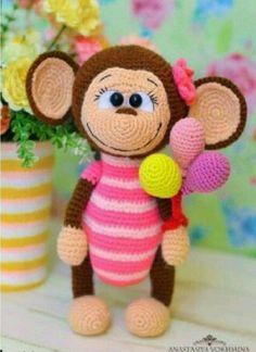 Amigurumi Örgü Oyuncak Modelleri – Amigurumi Koca Kulaklı Maymun Tarifi ( Anlatımlı ) – Örgü, Örgü Modelleri, Örgü Örnekleri, Derya Baykal Örgüleri