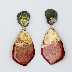 Painted brass earrings, 2016 by Johanne Ratté @lesjoanneries