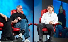 Steve Jobs v Bill Gates - the biggest technology rivals in history: in pictures.  As Microsoft tries to fightback against Apple and Google with Windows 10,   competition between technology's biggest companies is more brutal than ever. Rhiannon   Williams takes a look at the fiercest rivalries