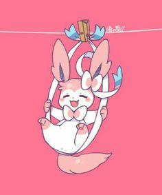 Sylveon, cute, clothespin, clothesline; Pokémon