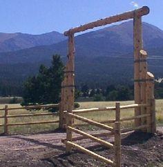 Pole+Fence+Ideas | Ideas for Ranch Entryways, Ranch Entrances, Rustic Driveway Entrances